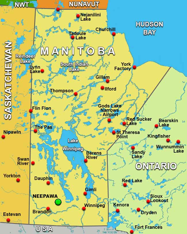 Map Of Neepawa Manitoba Canada Charter Flights To Neepawa Manitoba /Charter Flight Network